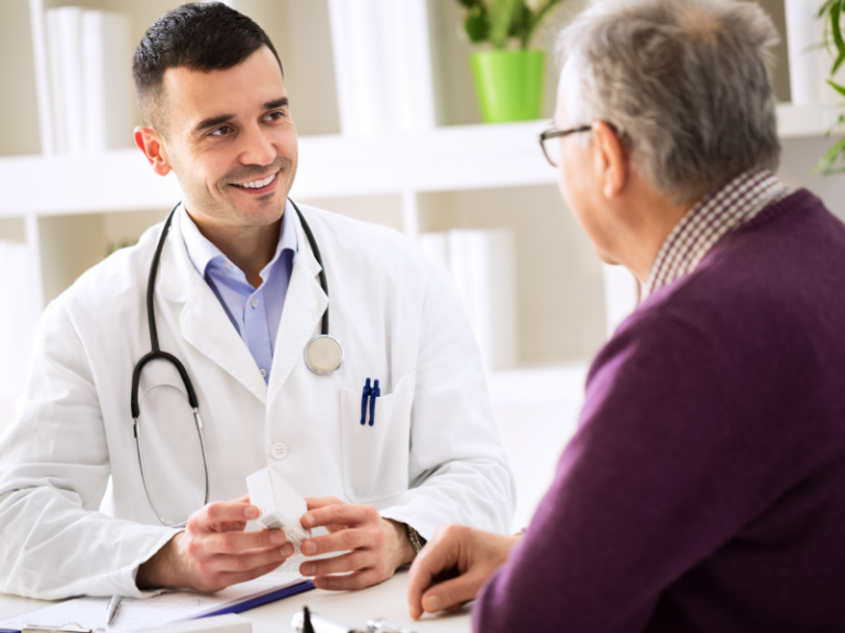 Psychiatrist Discussing Medication with Older Patient