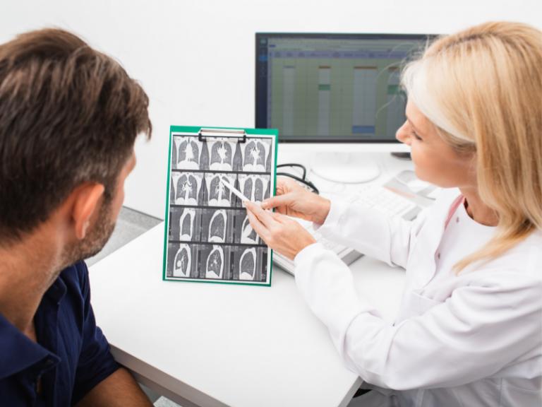 Pulmonologist Examining Chest X-Ray